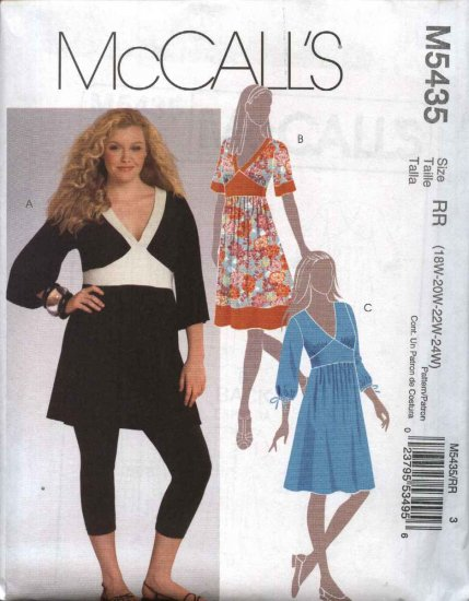 McCall�s Sewing Pattern 5435 Womans Plus Size 18W-24W Duro Style Dress Tunic