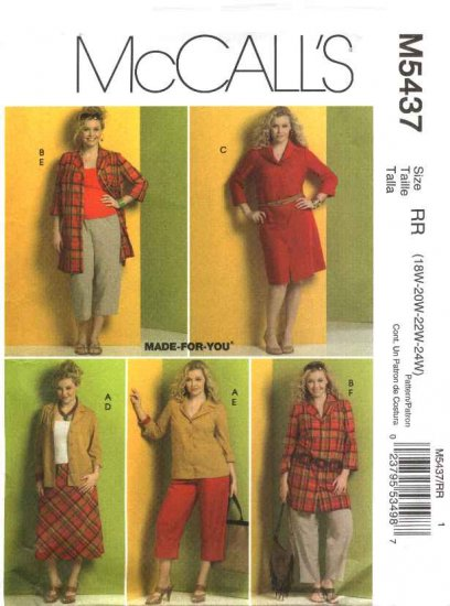 McCall�s Sewing Pattern 5437 Womans Plus Size 26W-32W Wardrobe Skirt Button Front Dress Pants
