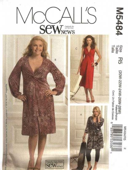 McCall�s Sewing Pattern 5484 Womans Plus Size 20W-28W Sew News Pullover Knit Dresses