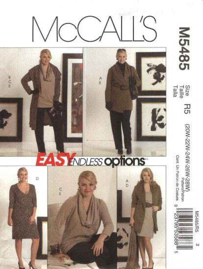 McCall's Sewing Pattern 5485 Womans Plus Size 20W-28W Easy Wardrobe Jacket Dress Tunic Pants