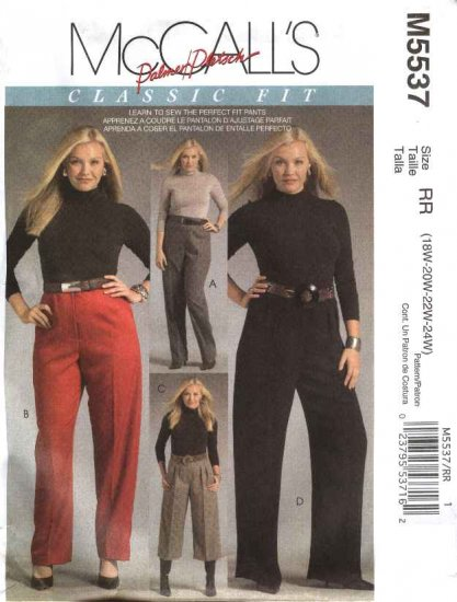 McCall�s Sewing Pattern 5537 Womans Plus Size 18W-24W Classic Fitted Long Cropped Pants