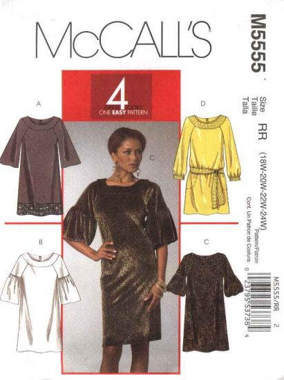 McCall�s Sewing Pattern 5555 M5555 Womans Plus Size 18W-24W Easy Pullover Straight Dresses
