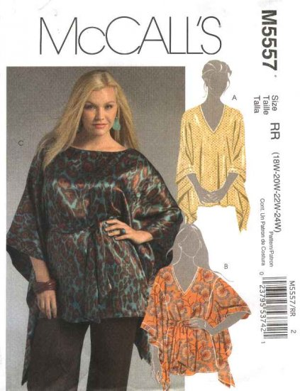 McCall�s Sewing Pattern 5557 Womans Plus Size 18W-24W Pullover Tunics Tops Kurtas Belt