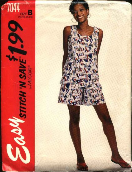 McCall's Sewing Pattern 7044 Misses Size 14-20 Easy Pullover Sleeveless Top Pull-on Shorts