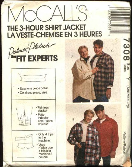 """McCall's Sewing Pattern 7308 Misses Mens Chest Size 31 1/2 - 40""""  Button Front Shirt Jacket"""