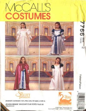 McCall�s Sewing Pattern 7766 Girls Size 2 Costume Swan Princess� Dresses Cape