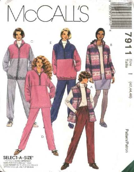 McCall's Sewing Pattern 7911 Womans Plus Size 24W-28W Wardrobe Zipper Front Jacket Skirt Pants Top