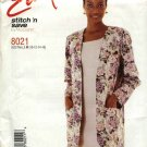 McCall's Sewing Pattern 8021 Misses Size 10-16 Easy Unlined Long Sleeve Jacket Sleeveless Dress