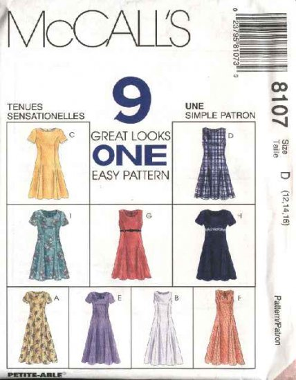 McCall's Sewing Pattern 8107 Misses Size 10-14 Easy Princess Seam Short Long Dresses