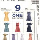 McCall's Sewing Pattern 8107 Misses Size 12-16 Easy Princess Seam Short Long Dresses