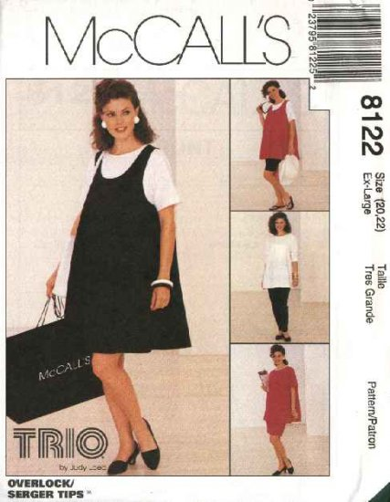 McCall's Sewing Pattern 8122 Misses Size 20-22 Maternity Wardrobe Knit Dress Top Pants Shorts Skirt