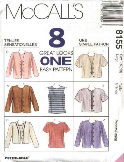 McCall's Sewing Pattern 8155 Misses Size 20-22 Easy Pullover Sleeveless Top Button Front Jacket