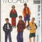 McCall's Sewing Pattern 8520 Boys Size 7-16 Wardrobe Zipper Front Jacket Vest Pants Shorts Top