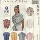 McCall's Sewing Pattern 8620 Misses Size 10-14 Easy Classic Button Front Shirt Sleeve Variations