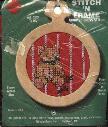 Teddy Bear Christmas Ornament Counted Cross Stitch Kit
