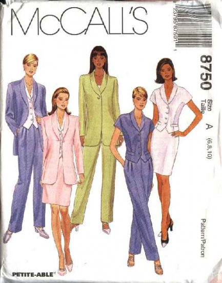 McCall's Sewing Pattern 8750 Misses Size 10-14 Lined Jacket Top Pants Straight Skirt Suit Pantsuit