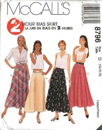 McCall�s Sewing Pattern 8796 Misses Size 4-8 2-Hour A-line Bias Flared Skirts