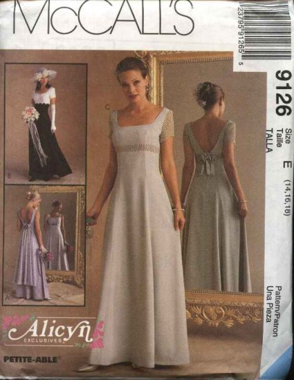 McCall's Sewing Pattern 9126 Misses Size 4-8 Alicyn Formal Dress Evening Prom Gown Raised Waist