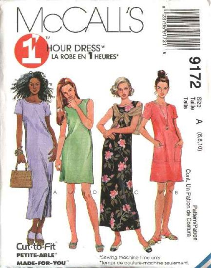 McCall's Sewing Pattern 9172 Misses Size 14-18 1-Hour Short Long Straight Dress