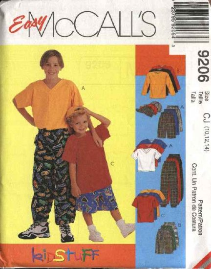 McCall's Sewing Pattern 9206 Boys Size 10-14 Easy Knit T-Shirt Pants Shorts Hat