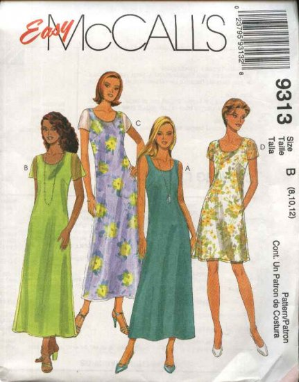 McCall's Sewing Pattern 9313 Misses Size 4-8 Easy Two Layer Short Long A-line Dresses