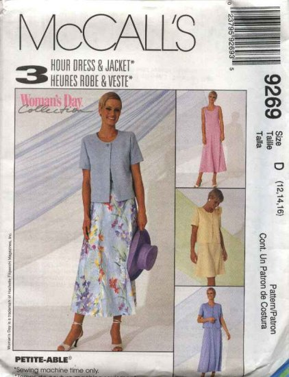 McCall's Sewing Pattern 9269 Misses Size 8-12 3-Hour Sleeveless Dress Short Sleeve Jacket