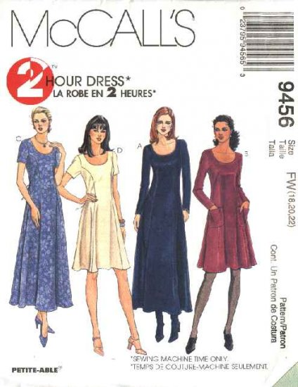 McCall's Sewing Pattern 9456 Misses Size 6-10 2-Hour Classic Princess Seam Dress