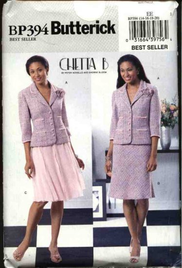 Butterick Sewing Pattern P394 4390 Misses Size 6-12 Lined Button Front Jacket Flared Full Skirt Suit