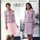 Butterick Sewing Pattern P394 4390 Misses Size 6-12 Button Front Jacket Flared Full Skirt Suit