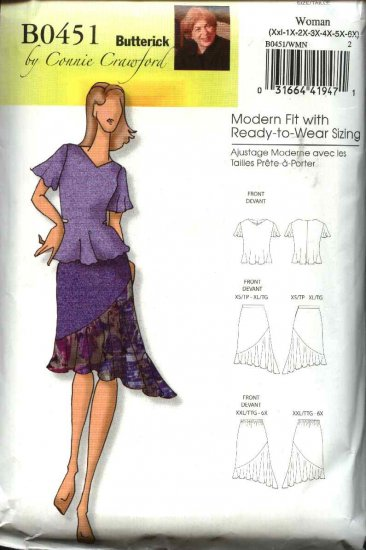 Butterick Sewing Pattern 0451 5105 Misses Size 3-16 Easy Pullover Top Blouse Fitted Skirt Flounce