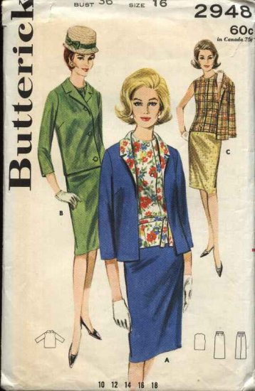 Vintage 1960's Butterick Sewing Pattern 2948 Misses Size 16 B36 Suit Jacket Overblouse Skirt
