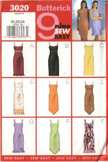Butterick Sewing Pattern 3020 Misses Size 20-24 Easy Lined Slip Straight Dress Sundress
