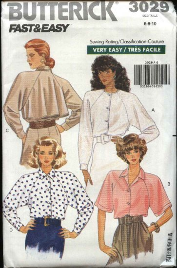 Butterick Sewing Pattern 3029 Misses Size 6-10 Easy Button Front Raglan Sleeve Blouses Shirt