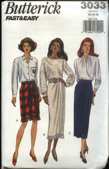 Butterick Sewing Pattern 3033 Misses Size 12-16 Easy Short Long Front Wrap Straight Skirt