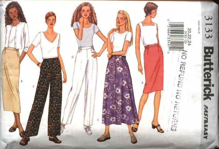 Butterick Sewing Pattern 3133 Misses Size 8-12 Easy Classic Straight Flared Skirts Pants