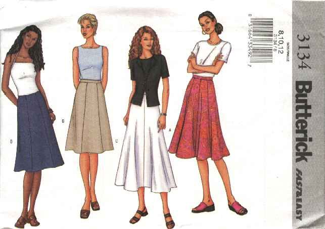Butterick Sewing Pattern 3134 Misses Size 14-18 Easy Classic Long Short A-Line Flared Skirts