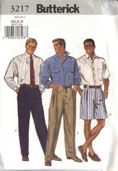 "Butterick Sewing Pattern 3217 Mens Chest Size 32-40"" Short Long Sleeve Shirts Long Pants Shorts"