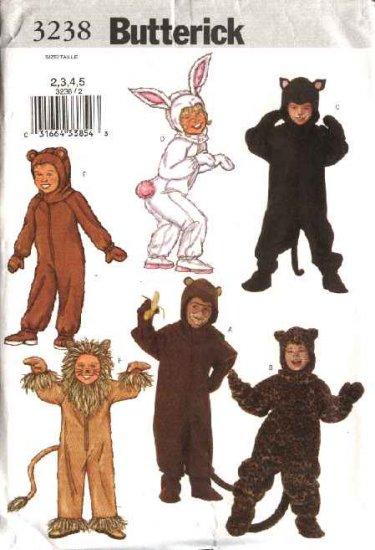 Butterick Sewing Pattern 3238 Boys Girls Size 2-5 Jumpsuit Costumes Bear Bunny Monkey Lion Cat