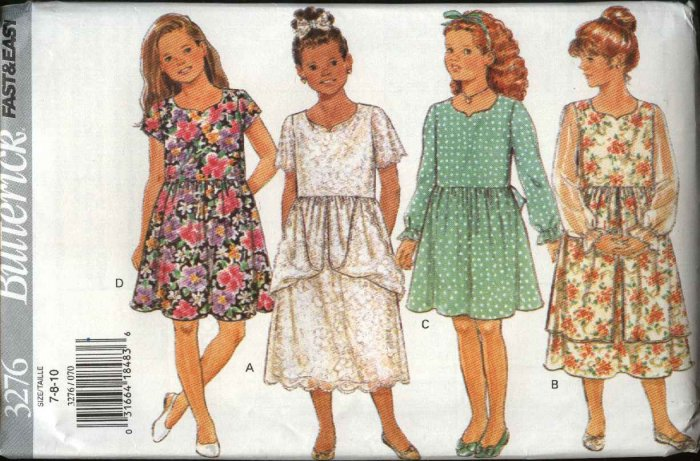 Butterick Sewing Pattern 3276 B3276 Girls Size 7-10 Easy Pullover Dresses Sleeve Skirt Variations