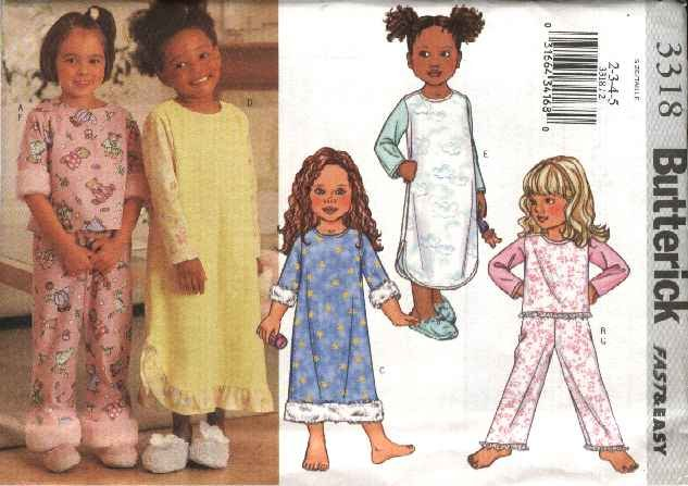 Butterick Sewing Pattern 3318 Girls Size 2-3-4-5 Easy Pullover Top Nightgown Pants Pajamas