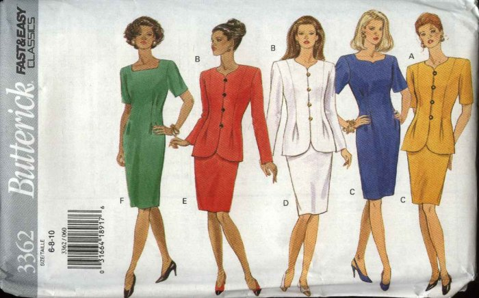 Butterick Sewing Pattern 3362 Misses Size 6-10 Easy Short Sleeve Straight Dress Button Front Jacket