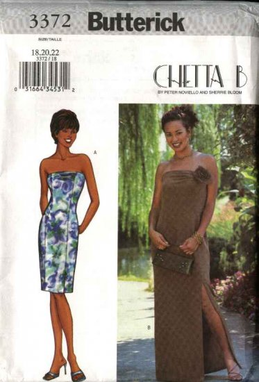 Butterick Sewing Pattern 3372 Misses Size 18-22 Easy Chetta B Formal Strapless Long Short Dresses