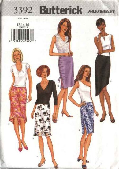 Butterick Sewing Pattern 3392 Misses Size 12-14-16 Easy Straight Skirts Hemline Variations