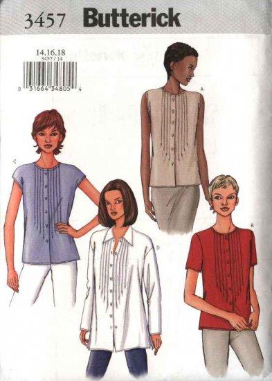 Butterick Sewing Pattern 3457 Misses Size 8-12 Easy Classic Button Front Tucked Top Blouse Shirt