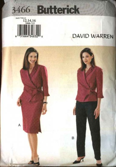 Butterick Sewing Pattern 3466 Misses Size 18-22 Easy David Warren Wrap Front Top Skirt Pants Suit