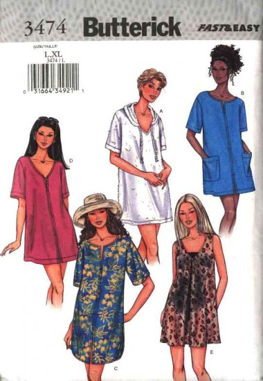 Butterick Sewing Pattern 3474 Misses Size 6-14 Easy Hooded Bathing Suit Beach Cover-up
