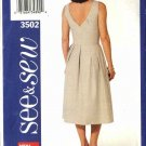 Butterick Sewing Pattern 3502 Misses Size 14-16-18 Easy Sleeveless Summer Dress Sundress