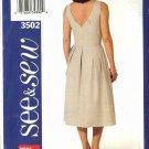 Butterick Sewing Pattern 3502 Misses Size 14-16-18 Easy Sleeveless Summer Dress Sundress