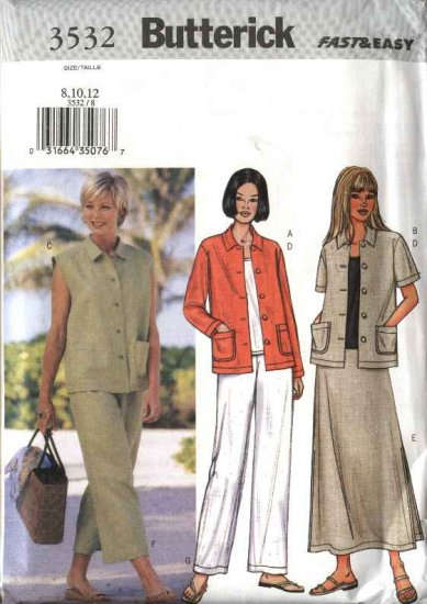 Butterick Sewing Pattern 3532 Misses Size 8-12 Easy Wardrobe Jacket Vest Top Skirt Pants