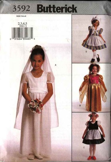 Butterick Sewing Pattern 3592 Girls Size 2-5 Easy Costumes Bride Princess Dutch Girl Heidi